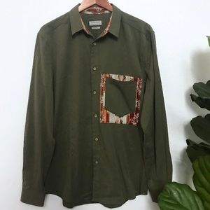 ZARA olive green tribal embroidery button up polo